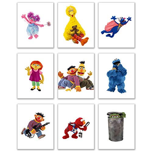 Sesame Street Art Prints - Set of Nine (8 x 10 inches) Photos - Grover Bert Ernie Big Bird Elmo Abby Julia Oscar The Grouch Cookie Monster