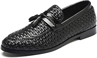 Xiang Ye Driving Loafers for Men Gommino Slip on PU Leather Upper Woven Style Wax Brush Color Pointed Toe Tassels Lightweight Anti Slip (Color : Black, Size : 9.5 UK)