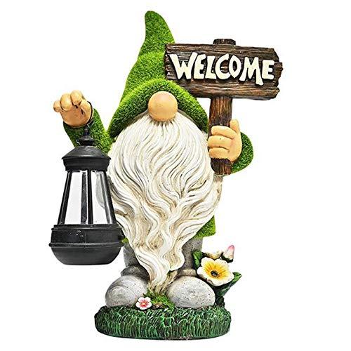 GNOME Light Outdoor Solar Garden Resin Ornament Dwarf Resin Craft Garden Statue Decoration 36cm...