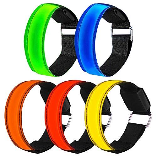 OVAREO LED Armband, 4 Stück Reflektorband Selbstklebend Reflective LED leucht Armbänder Lichtband Kinder Nacht Sicherheits Licht Leuchtband für Laufen Joggen Hundewandern Running Outdoor Sports