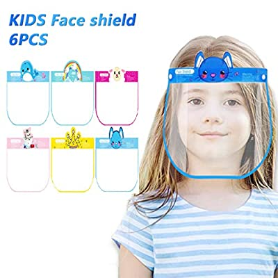 Luckylin Reusable Kids Face_Shields with Cute Pattern,Full Face Protective Transparent Visor,Anti-Fog, US Stock, One Size Fits All,Safety Protection for Children