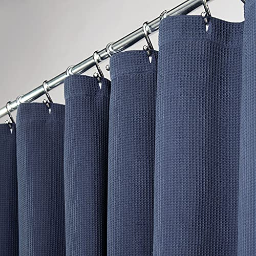"""mDesign Long Premium 100% Cotton Waffle Weave Fabric Shower Curtain, Hotel Quality - for Bathroom Showers and Bathtubs, Super Soft, Easy Care - 72"""" x 84"""" - Navy Blue"""