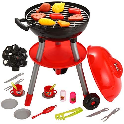 JOYIN 24 Piezas Juguete y Juego de Cocina de Pequeño Cocinero Barbacoa para Niños