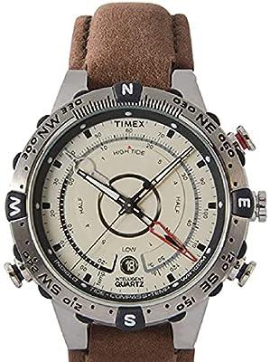Timex Men's T2N721 Intelligent Quartz Compass Tide Temperature Silver Case Brown Strap Watch from Timex