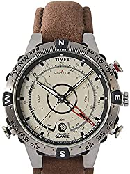 Best watch with compass and thermometer - Timex Men's T2N721 Intelligent Quartz Compass Tide Temperature Silver Case Brown Strap Watch
