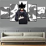 xiaoshicun 5 pièces d'art Mural Multi-Taille Une Affiche de Cadre Anime Peinture Photos Animaux sur Toile Impression Photos de décoration de la Maison Moderne 40x60 40x80 40x100cm (avec Cadre)