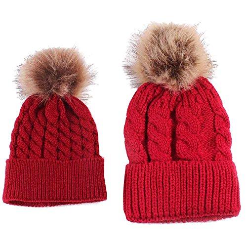 RETUROM Sombreros de bebé, Forme a invierno el sombrero caliente de la mamá y del bebé que hace punto (rojo)