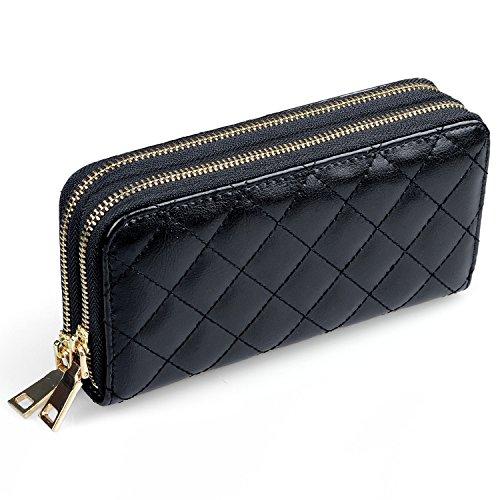 Damen Portemonnaie Lang, Hengying Elegante Leder Groß Mädchen Fraue Lange Reißverschluss Geldbörsen mit 2 Reißverschlüsse & Handyfach + Schlüsselanhänger