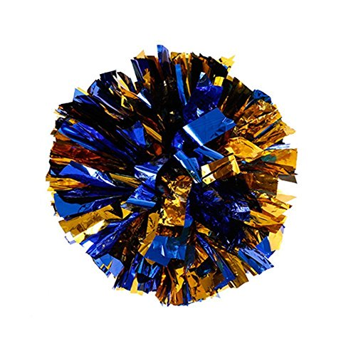 FinalZ 12'' Cheering Squad Spirited Fun Cheerleading Kit Cheer Poms Pack of 2 (Blue+Gold)