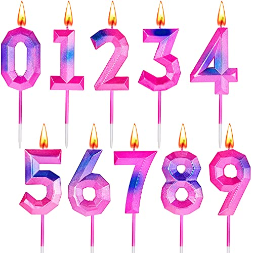 10 Pieces Birthday Number Candles 0-9 Set Purple Pink Blue Candles 3D Design Cake Topper Decoration Anniversary Candle Set for Birthday Party Wedding Festive Celebration (Number 0-9)