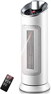 Radiador eléctrico MAHZONG Mini Calentador de Ventilador de cerámica de 2000 vatios - Oscilación automática y 3 configuraciones de calefacción, Blanco