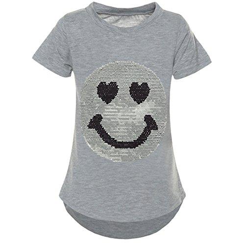 BEZLIT Kurzarm Mädchen T-Shirt Wende-Pailletten Motiv Glitzer Bluse 21287 Grau Größe 116