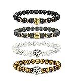 BESTEEL Schmuck 4Pcs Lava Rock Perlen Armbänder für Herren und Damen Armband Löwe Leopard Kopf Punk Set Elastisch 8mm