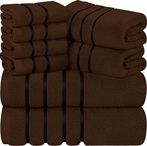 Utopia Towels - Dunkelbraunes Handtuch Set 8 - Stück, Viskose-Streifen Handtücher - 600 g/m² Ring Spun Baumwolle - hoch saugfähige Handtücher