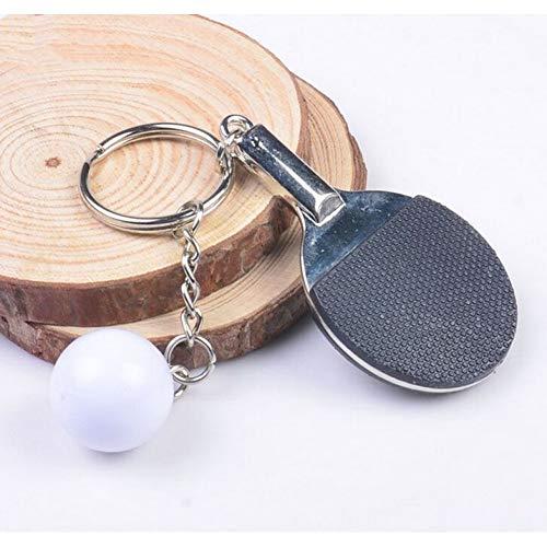 YQCZ Schlüsselring 7 Farbe Sport Ping Pong Tischtennis Ball Badminton Bowling Ball Keychain Schlüssel Kette Keyring Schlüssel Ring Souvenir Geschenk,Black
