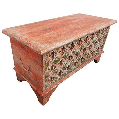 Indoortrend.com Truhe Kiste Holztruhe Box 90 Vintage Rot Shabby Chic aus Handarbeit Unikat 2 - 2