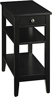(Black) - Convenience Concepts American Heritage 3-Tier End Table with Drawer, Black