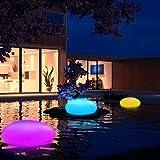 Große LED Solarlampe Garten Solarleuchte mit Fernbedienung Solar Stein Kugel Bodenleuchte Dekoleuchte Außen Innen Wasserdicht 8 Farben Bunt/Weiß, 33cm x 25cm x 14cm.  [Energieklasse A+++]