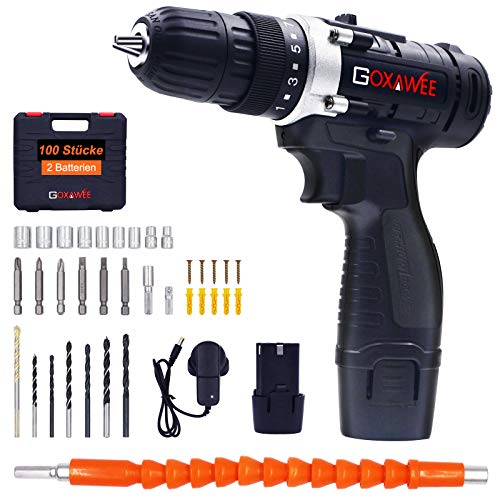 Cordless Drill Driver, GOXAWEE Cordless Screwdriver Drill Set, 2 Batteries 1500mAh, Max Torque 30Nm, 2-Speed, 10mm Automatic Chuck) for Home Improvement & DIY Project