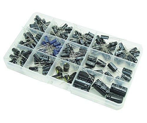 WINGONEER Condensadores 13 Valores Total 200 PCS 0.47uF a 1000uF Capacitadores Electrolíticos Kit de Surtido