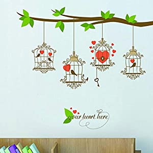 Amor pájaro jaula decoración del hogar sala de estar romántico Animal árbol etiqueta de la pared Pvc autoadhesivo extraíble etiqueta de la pared 140 * 120 cm