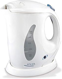 comprar comparacion adler AD 02 Hervidor de Agua Eléctrico, 760 W, 0.6 litros, 0 Decibeles, Polímero Libre de BPA, Blanco