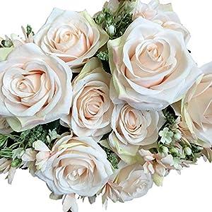 DALAMODA Artificial Open Rose Flower 2 Bundles Snowflake Cloth Rose Bush with 18 Stems