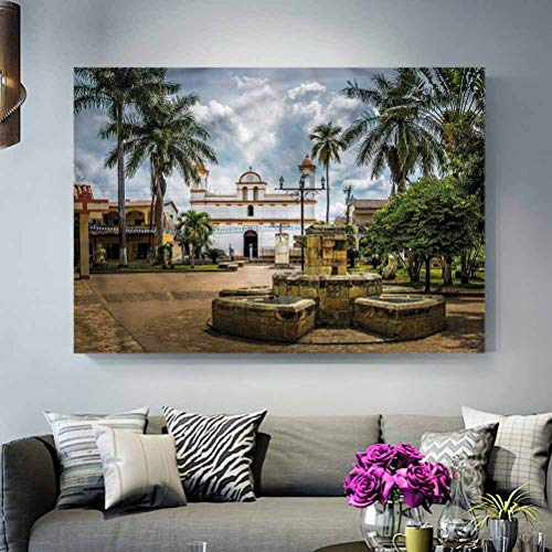ParadiseDecor Wall Decor for No Frame Travel,Mayan Town with Palms Ideas L20 x H40 Inch