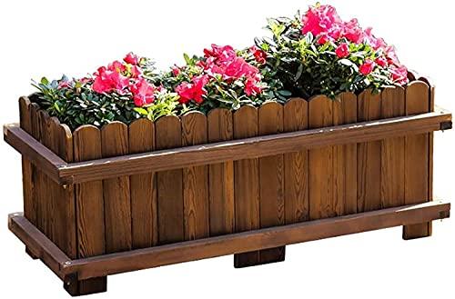 FENGNV Bandeja Semillas Cama de jardín elevada Caja de plantación Caja Balcón Exterior Flor Rectángulo carbonizado Recipiente galvanizado Propagador Jardín Plántulas Bandejas para Arranque