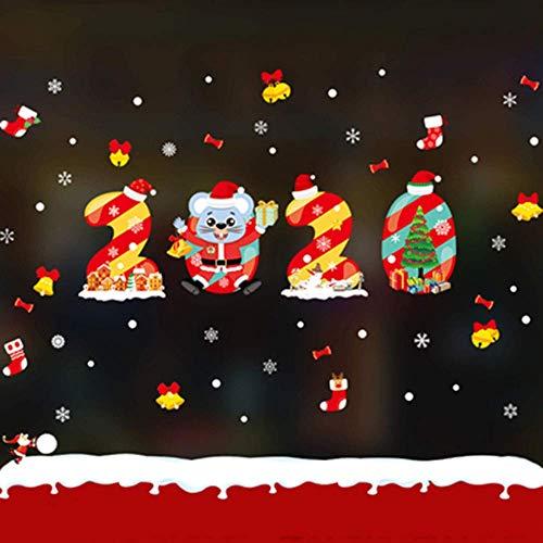 NLRHH Frohe Weihnachten Aufkleber Weihnachtsfenster Klammer Schneeflocke Fenster Aufkleber Fensteraufkleber Shop Fenster Aufkleber Tür Ons, F Peng (Color : F)