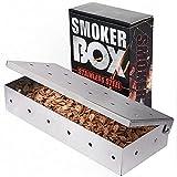 Caja de Ahumador de Barbacoa, Ahumador de Acero Inoxidable Accesorios de Barbacoa para Parrilla de Carbón Gas Hogar Jardín Exterior Fácil de Usar