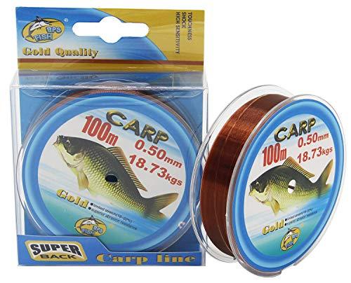 BPS Línea Hilo de Pesca 100m Nylon Monofilamento Color Marrón/Verde Multifilamento Material Súper Fuerte Pesca Profesional (Marrón, 2 Pcs 0.50mm)