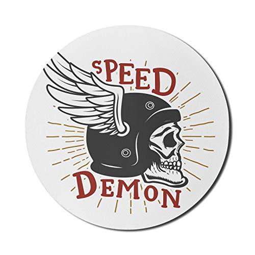 Biker-Mauspad für Computer, Speed Demon-Schriftzug mit geflügeltem Schutzhelm, rundes, rutschfestes, modernes Gaming-Mousepad aus dickem Gummi, 8 \'rund, zinnoberrot, dunkelgrau