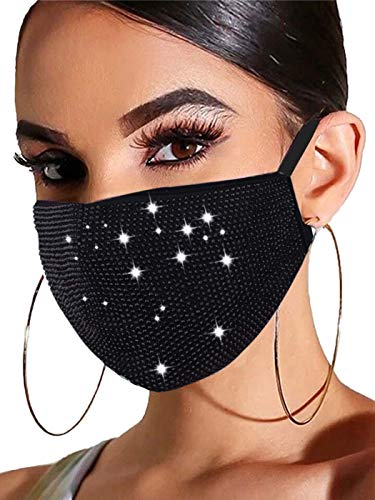 Barode Sparkly Rhinestones Mask Masquerade 3D Crystal Halloween Masks with Adjustable Ear Loops Party Face Decoration Jewelry for Women and Girls (Black)
