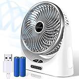 OCOOPA Ventilador de mesa silencioso - USB con batería recargable de 4000 mAh - Luz LED móvil - 3 niveles - Ventilador personal perfecto - para el hogar, la mesa y la oficina (Plata)