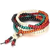 Flongo Bracelet Multi-Rangs de Perles en Bois Imitation Santal Collier Chaîne...