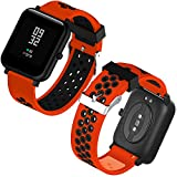 Th-some Correa para Amazfit Bip Impermeable Universal - Reemplazo de Pulsera Ajustable para Xiaomi Huami Amazfit Bip bit Lite Youth Watch Sin Tracker (Rojo Negro3)
