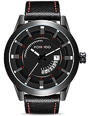 KONXIDO 腕時計 メンズ 日本製クォーツムーブメント レザーベルト 日付表示 アナログウォッチ 男性 時計 防水腕時計 カジュアル ビジネス ファッション 日本語取扱説明書付き
