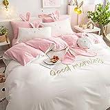 QIANBAOBAO Juego de cama de 3 piezas de algodón lavado con corazón para niña de invierno, diseño de princesa, color rosa y blanco