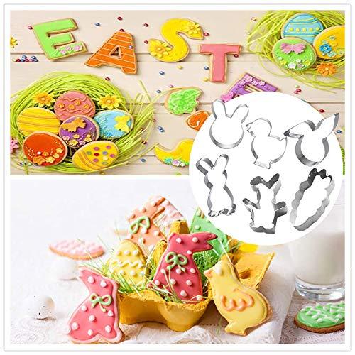 Moldes para galletas de Pascua, 6 unidades, juego de cortadores de Pascua, huevos de Pascua, forma de conejo, molde para galletas, galletas de Pascua para hornear galletas para niños