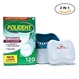 Polident Smokers Denture Cleaner 120 Tablets Bundled With Dentu-Care Denture Cleaning Cup Case With Lid Basket