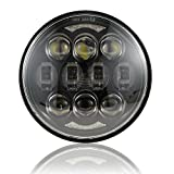 2019 New Brightest DOT Approved 80W Osram Chips 5-3/4' 5.75' Round LED Projection Headlight for Harley Motorcycles Black