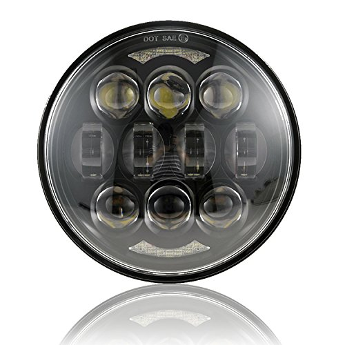 "2019 New Brightest DOT Approved 80W Osram Chips 5-3/4"" 5.75"" Round LED Projection Headlight for Harley Motorcycles Black"