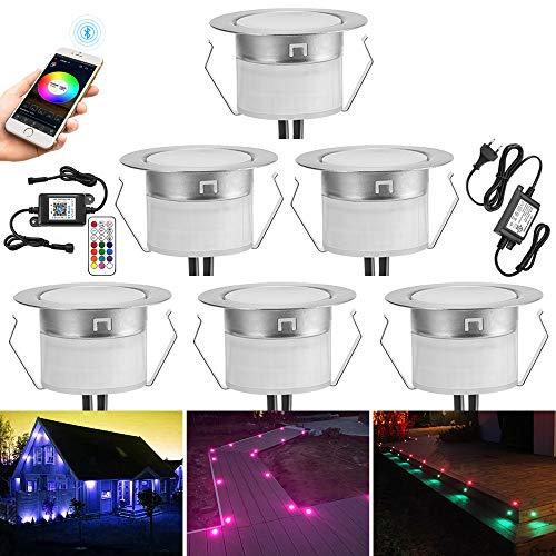 6er set Bluetooth RGB Led Bodeneinbaustrahle Aussen 0.5W Ø45mm IP67 Wasserdicht LED Einbaustrahler Terrasse Küche Garten Led Lampe