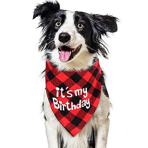 vamei Geburtstag Halstuch Hund Haustier Kopftuch Bandana Birthday Dreiecktuch Kariert Halsschal Hunde Weihnachten Geschenk für kleine, mittelgroße und Katzen große Hunde Kopftücher