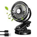 ELZO USB Ventilator, 4800mAh Power Bank Externer Akku & Clip Schreibtisch Ventilator Mini Lüfter 2 in 1 - USB Tischventilator Tragbarer Ventilatoren 360° Drehung - für Reisen und Zuhause