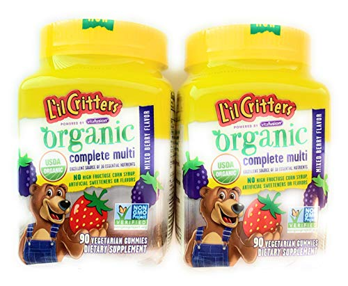 Organic Complete Multivitamin for Kids Critters, MIxed Berries, 90 Gummies (Pack of 2)