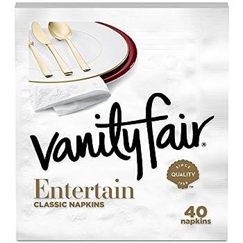 Vanity Fair Entertain Paper Napkins 320 3-Ply Disposable Napkins Dinner Size  8 packs of 40 Napkins