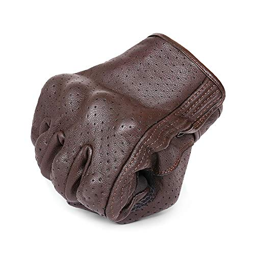 Full Finger Brown Leather Motorcycle Gloves - Men's Touchscreen Motorbike...