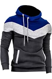 Winwinus Men Thickening Plus Velvet Relaxed-Fit Pure Color Pullover Sweatshirt